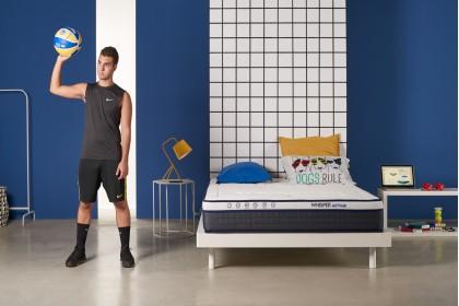 Matelas Whisper® ACTIVE spécial sportifs en mousse de gel à mémoire décontracturant et tissu Carbotex® antistress 24 cm